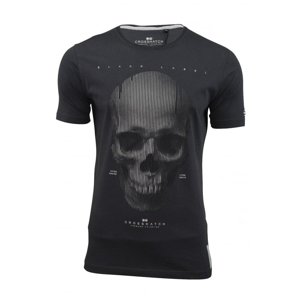 Crosshatch mens carebrum designer casual skull t shirt for Mens designer t shirts uk