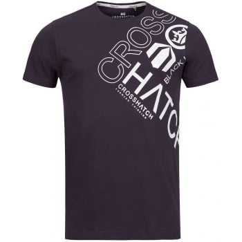 Crosshatch Mens Eleanor Branded  Designer Casual T Shirt Night Shade