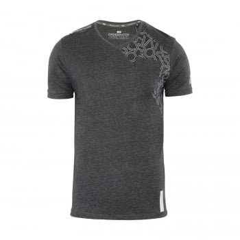 Crosshatch New Mens Casual Graphic V Neck T Shirt Lightfeet Charcoal Marl