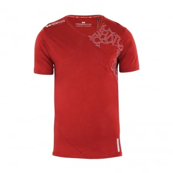 Crosshatch New Mens Casual Graphic V Neck T Shirt Lightfeet Red Dahlia