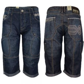 Crosshatch Denim Shorts 'New Winston' Mens Cargo Combat Jean Rinsewash