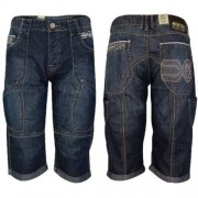 Denim Shorts 'New Winston' Mens Cargo Combat Jean Rinsewash