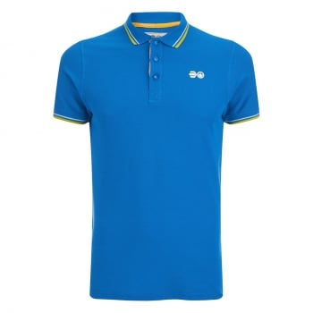 Crosshatch Downtalk Twin Tipped Authentic Casual Designer Polo Shirt Directoire Blue