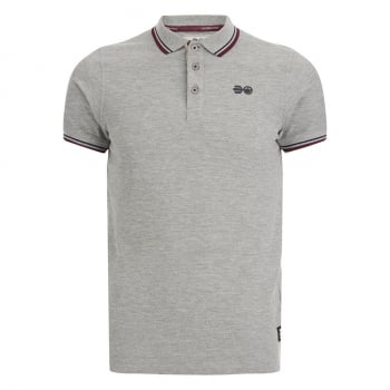 Crosshatch Downtalk Twin Tipped Authentic Casual Designer Polo Shirt Grey Marl