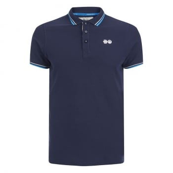 Crosshatch Downtalk Twin Tipped Authentic Casual Designer Polo Shirt Iris Navy