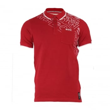 Crosshatch Fadelast Mens Authentic Casual Designer Pique Polo Shirt Chilli Red