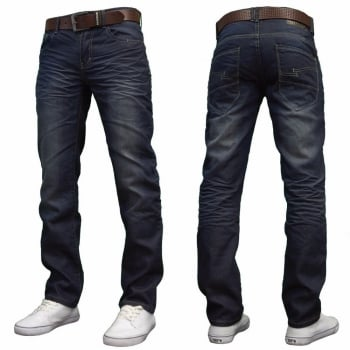 Crosshatch Farrow Mens new Branded Regular Fit Straight Leg Denim Jeans Dark Stonewash