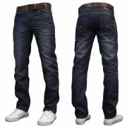 Crosshatch Farrow Mens new Branded Regular Fit Straight Leg Denim Jeans Dark Stonewash