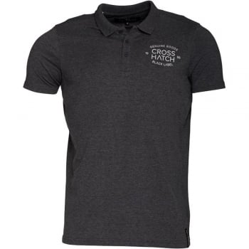 Crosshatch Haiden Mens Authentic Casual Designer Pique Polo Shirt Charcoal Marl