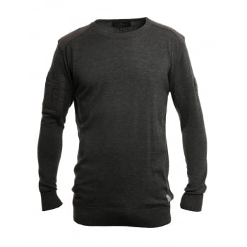 Crosshatch Linzee Crew Neck Cotton Jumper Charcoal Marl