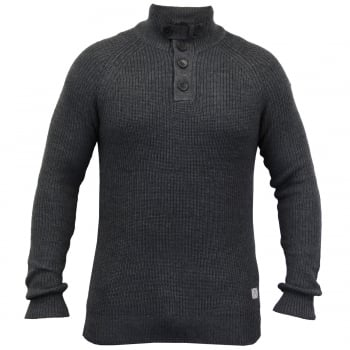 Crosshatch Masons Cotton Pullover Neck Knitted Jumper Charcoal