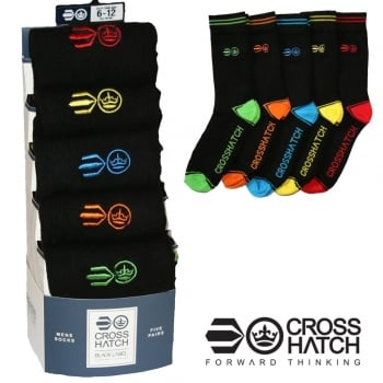 Crosshatch Mens 5 Pack Chevy Socks Black