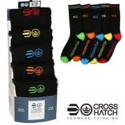 Crosshatch Mens 5 Pack Chevy Socks Black