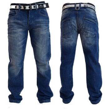 Crosshatch Mens Baltimore Straignt Leg Jeans Mid Used Look