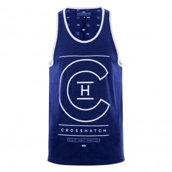 Crosshatch Mens Branded Alfa Casual Vest Estate Blue