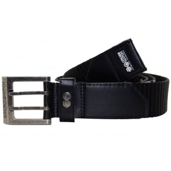 Crosshatch Mens Branded Bevel Canvas Designer Nylon Belt Black