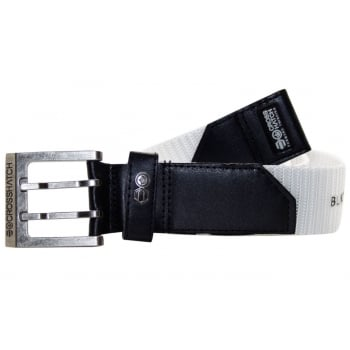 Crosshatch Mens Branded Bevel Canvas Designer Nylon Belt White