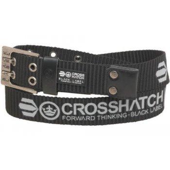 Crosshatch Mens Branded Calibro Canvas Designer Nylon Belt Black