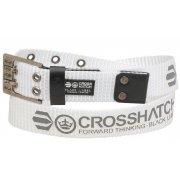 Crosshatch Mens Branded Calibro Canvas Designer Nylon Belt White