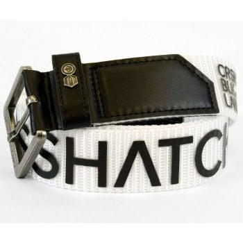 Crosshatch Mens Branded Deramus Canvas Designer Nylon Belt White