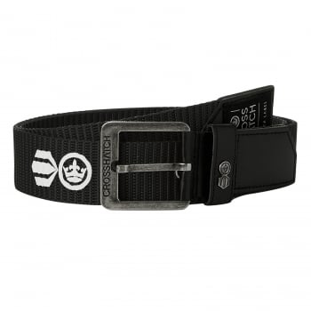 Crosshatch Mens Branded Lineman Webbed Canvas Designer PU Nylon Belt Black