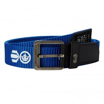 Crosshatch Mens Branded Lineman Webbed Canvas Designer PU Nylon Belt Deep Azure