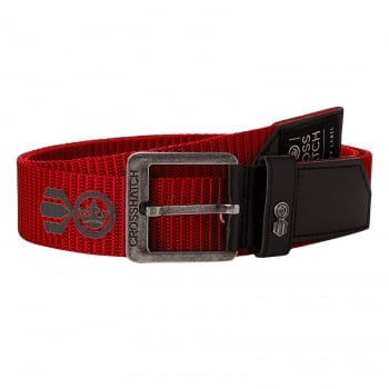 Crosshatch Mens Branded Lineman Webbed Canvas Designer PU Nylon Belt Formula 1 Red