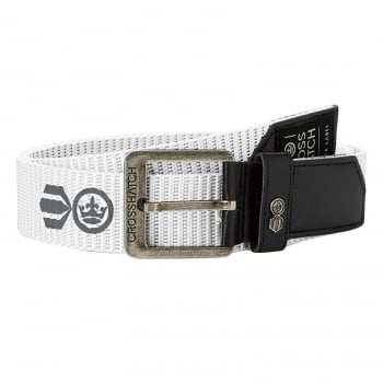 Crosshatch Mens Branded Lineman Webbed Canvas Designer PU Nylon Belt White