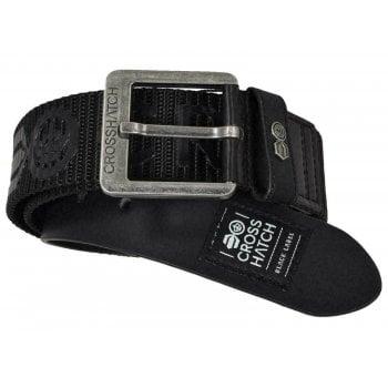Crosshatch Mens Branded Metzler Canvas Designer Nylon Belt Black