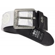 Crosshatch Mens Branded Metzler Canvas Designer Nylon Belt White