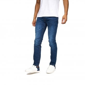Crosshatch Mens Buraca Slim Fit Jeans Mid Stonewash Wash