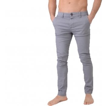 Crosshatch Mens Chinor Designer Slim Fit Tapered Chinos Jeans Charcoal Grey