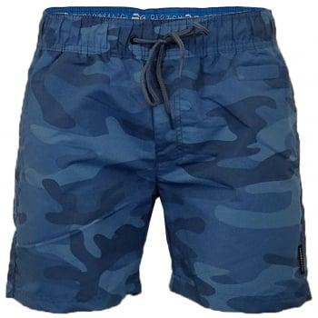Crosshatch Mens Designer Army Camo Swimming Trunks Shorts Blue