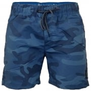 Crosshatch Mens Designer Army Camo Swimming Trunks Shorts Blue