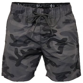 Crosshatch Mens Designer Army Camo Swimming Trunks Shorts Charcoal