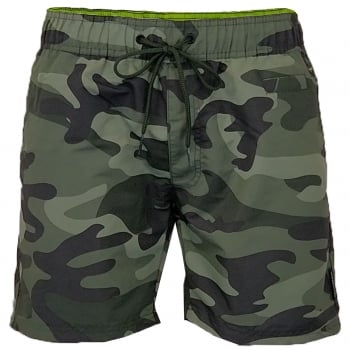 Crosshatch Mens Designer Army Camo Swimming Trunks Shorts Green