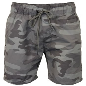 Crosshatch Mens Designer Army Camo Swimming Trunks Shorts Light Grey