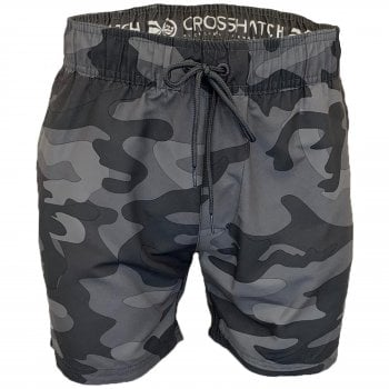 Crosshatch Mens Designer Army Flofast Swimming Trunks Shorts Charcoal Camo