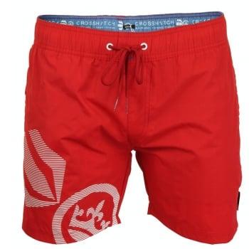 Crosshatch Mens Designer Ramirez Swimming Trunks Shorts Barbados Cherry