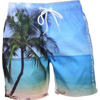 Crosshatch Mens Designer Shelford Swimming Photo Print Trunks Shorts Island