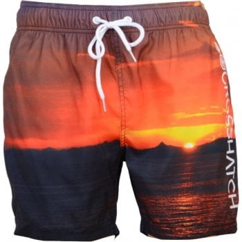 Crosshatch Mens Designer Shelford Swimming Trunks Photo Print Shorts Sunset
