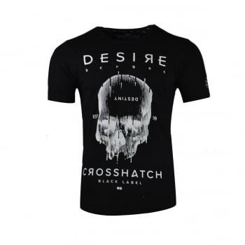Crosshatch Mens Desire Designer Casual Skull T Shirt Black