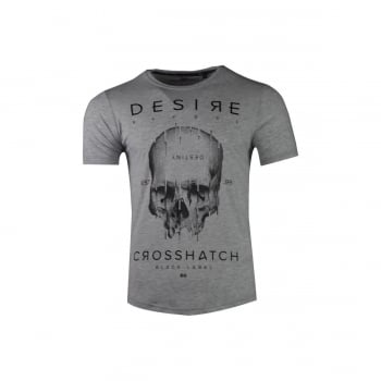 Crosshatch Mens Desire Designer Casual Skull T Shirt Grey