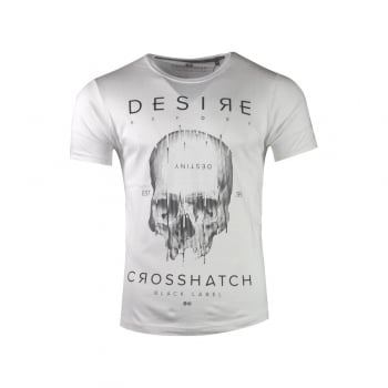 Crosshatch Mens Desire Designer Casual Skull T Shirt White
