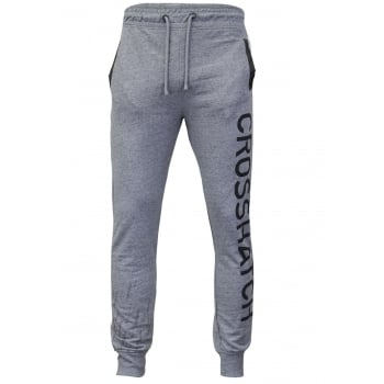 Crosshatch Mens Grus Track Suit Bottoms Sweat Pant Jogger Bottoms Grey Marl
