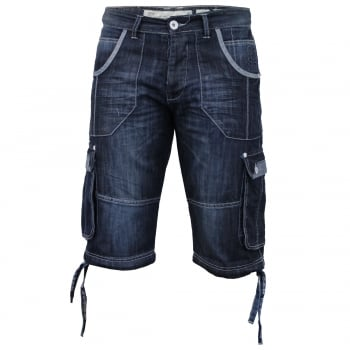 Crosshatch Mens Kanaster Designer Cargo Denim Shorts Stonewash