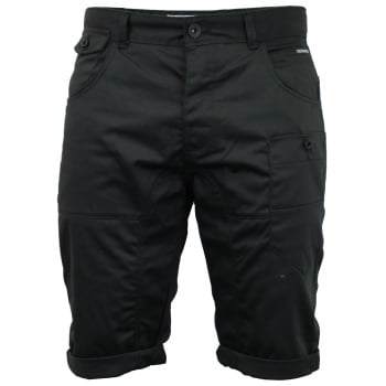 Crosshatch Mens Kractus Designer Cargo Chino Shorts Black