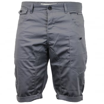 Crosshatch Mens Kractus Designer Cargo Chino Shorts Charcoal