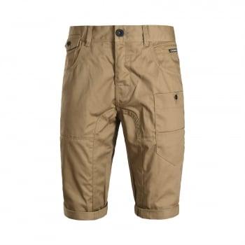 Crosshatch Mens Kractus Designer Cargo Chino Shorts Tan