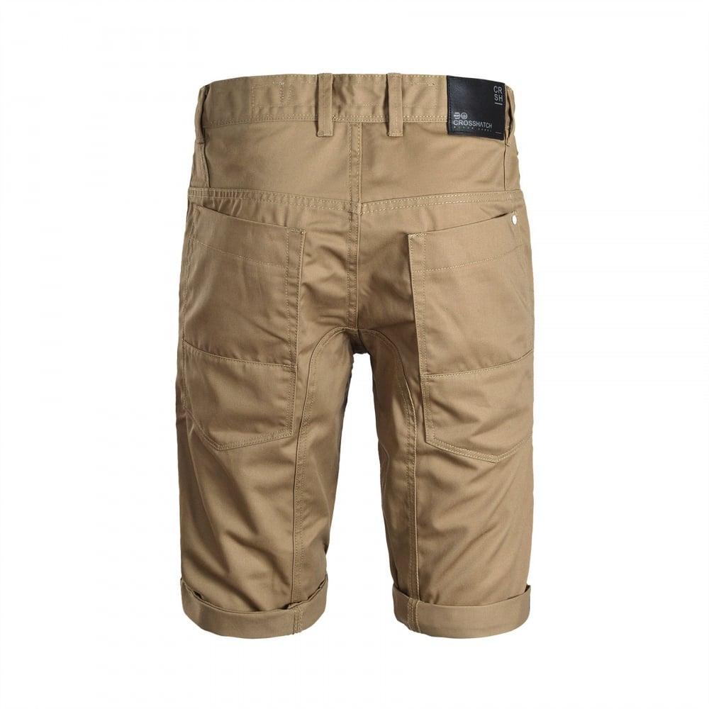 Crosshatch Mens Kractus Designer Cargo Chino Shorts Tan 2fab5a444